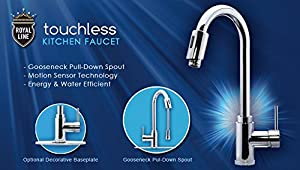 Elegant Royal Line Touchless Automatic Kitchen Faucet, Infrared Motion Sensor,  Gooseneck Design And Single Handle Pull Down