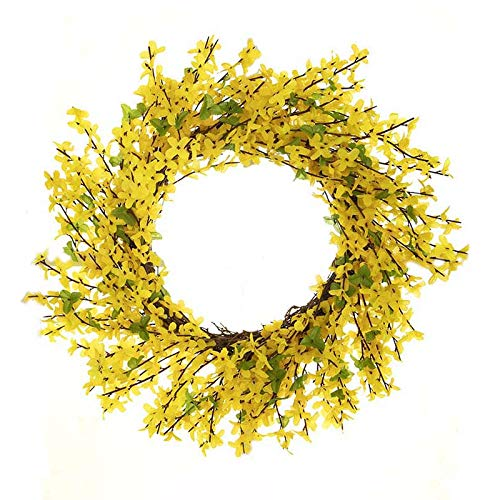 "LSKY 15"" Faux Forsythia Wreath,Forsythia Floral Wreath Twig Door Wreath Fake Flower Spring/Summer Wreath for Front Door Wedding Home Decor"