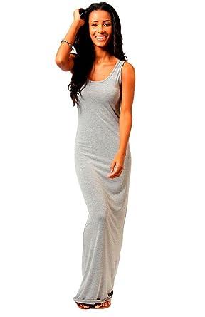 Women Ladies Racer Muscle Back Jersey Long Summer Vest Maxi Dress Plus Size