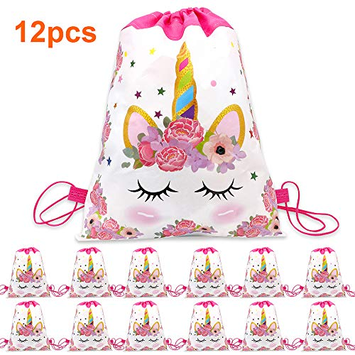 12 Pack Unicorn Drawstring Party Bag, Unicorn Party Favors Bags Drawstring Backpacks Gifts Bags Birthday Party Supplies Favor Bag for Kids Children Girls Baby Shower (S28-12Pack)