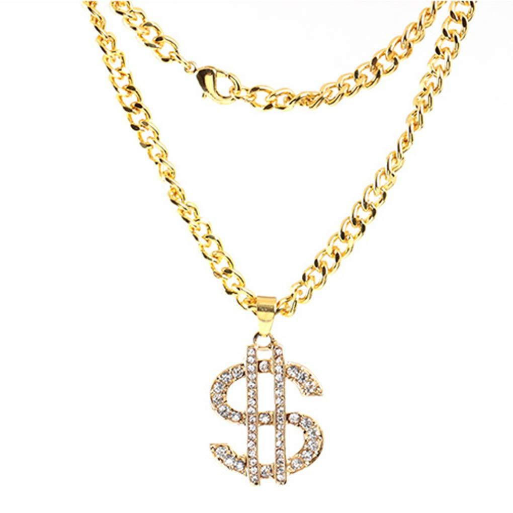 Shinning Strass Soldi del Dollaro Segno Pendenti della Lega collane Lunghe per Hip Hop Uomini delle Donne Gonee