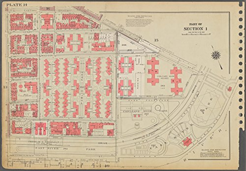 Historic 1955 Map | Plate 14, Part of Section 1: [Bounded by East Broadway, Grand St | Antique Vintage Map Reproduction (East Broadway 1)