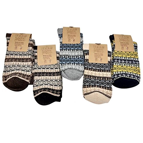 (Victor Gentility Vintage Style Soft Warm Knitting Wool Socks - 5 Pairs AB-01 US 5-9/Asian 35-39)