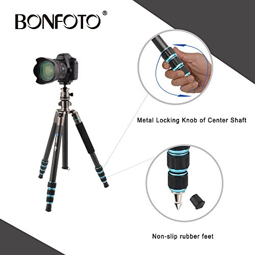 BONFOTO B674C Camera Carbon Fiber Travel Tripod Lightweight Heavy Duty Portable With 1/4'' Quick Release Plate 360 Degree Ball Head And Carry Case For Canon, Sony, Nikon, DSLR Cameras by BONFOTO (Image #4)