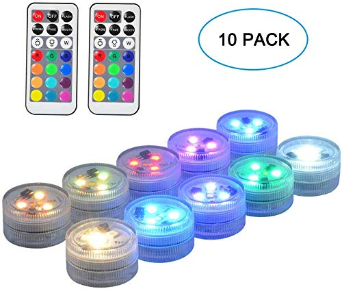 Seed 10 Pack 1.5 Small Submersible LED Lights, Battery Operated LED Craft Tea Light with Remote for Pool Parties Hot Tub Fountains Halloween Lantern Wedding Centerpieces Vases Decorations