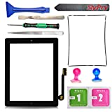 PC Hardware : New black iPad 3 Digitizer Touch Screen Front Glass Assembly - Includes Home Button + Camera Holder + PreInstalled Adhesive with SlyPry tools kit