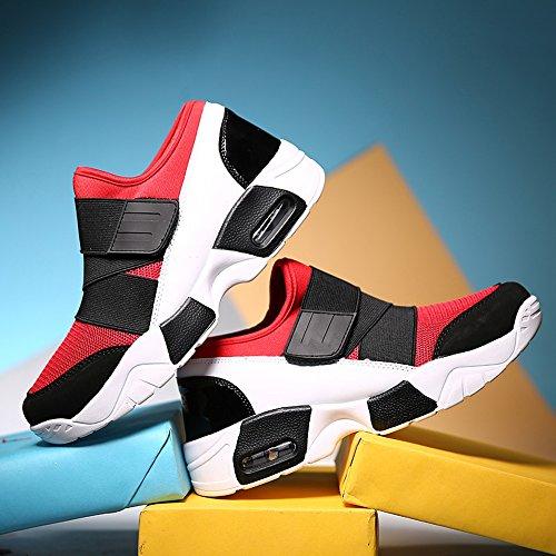Entraînement Gym Compétition sans Lacet Sport Fitness Chic Rouge de Sneakers Multisport Baskets Running Chaussure Basket Respirant Rosegal Homme air wpKPFzpq