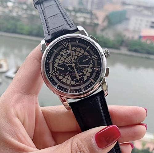 SANLUX 高級ブランド新男性自動機械式腕時計シルバーローズゴールド革黒ムーンフェイズ限定ローマダイヤルサファイアガラスバック
