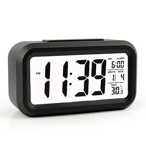 Amazon.com: Reloj despertador digital con retrovisor LED ...