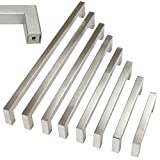 10 pack Probrico 1/2 in Stainless Steel Square Corner Bar Kitchen Cabinet Door Handles Brusehd Satin Nickel Hole Centers 3-3/4 inch 96mm