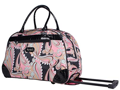Kathy Van Zeeland Luggage 22 Inch Rolling Carry On Printed Wheeled Duffel (Formal Pink, One_Size)