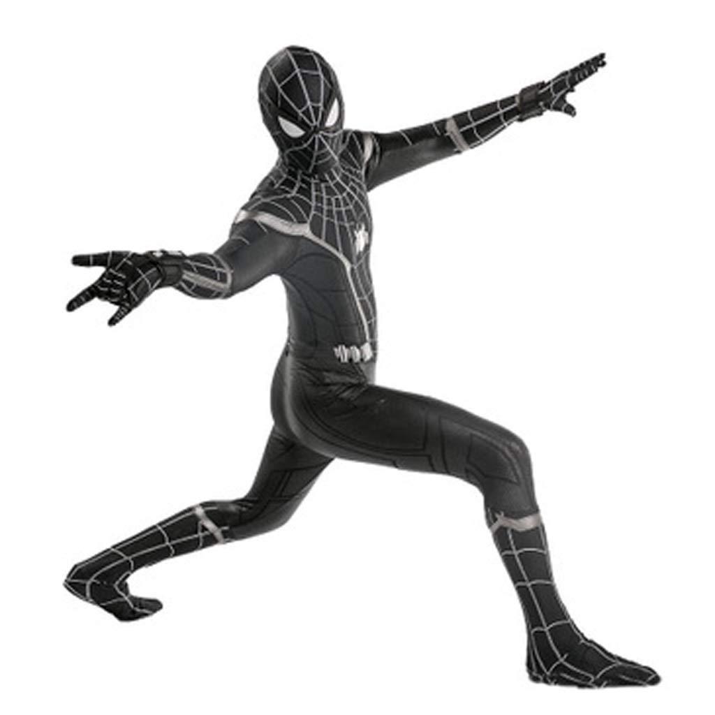 Size : S HYYSH Spiderman Negro Cosplay Medias Adultas Escudo de ara/ña Traje dram/ático Aparici/ón de Halloween Disfraz