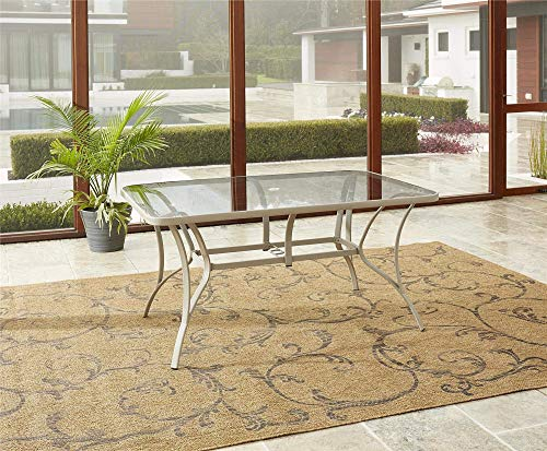 Cheap  Cosco Outdoor Dining Table, Tempered Glass Table Top, Sandy Steel