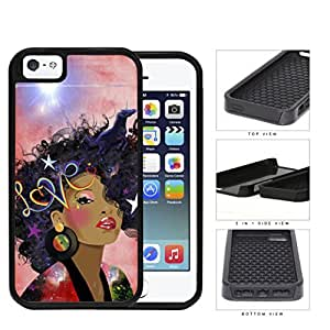 Retro Love Afro beauty 2-Piece Dual Layer High Impact Silicone Cell Phone Case Apple iPhone 5 5s