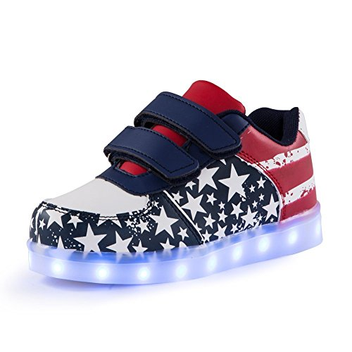 Qkettle Kids Lights Up Sneakers Boys Girls American USA Flag Fashion LED Shoes (9.5 M US Toddler/27 M -