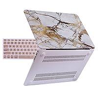 Estuche HDE para MacBook Air de 13 pulgadas - Carcasa de cubierta dura para teclado Se adapta a las generaciones anteriores A1466 A1369 (2008-2017) - Blanco y dorado