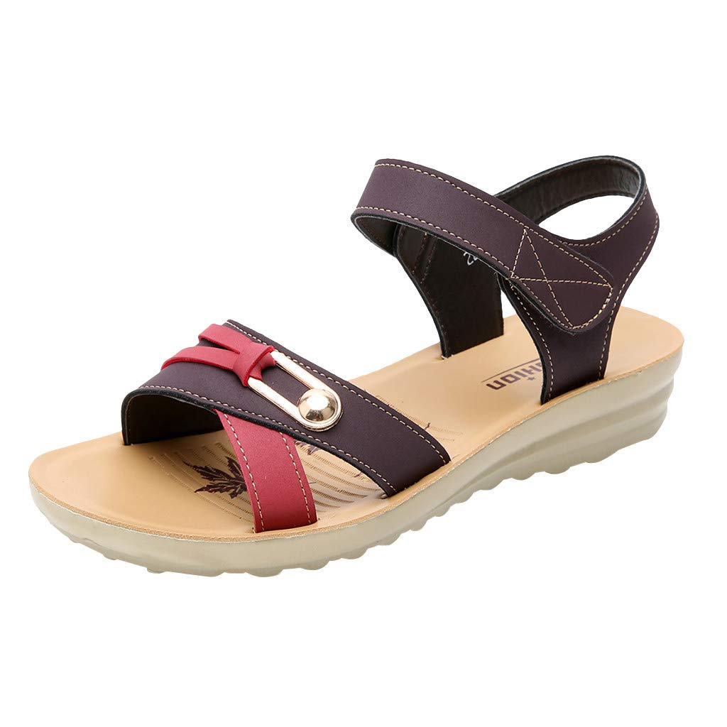 Sonmer Women's Leather Wedges Sandals Summer Fashion Big Size Sandals (Coffee, 5 M US)