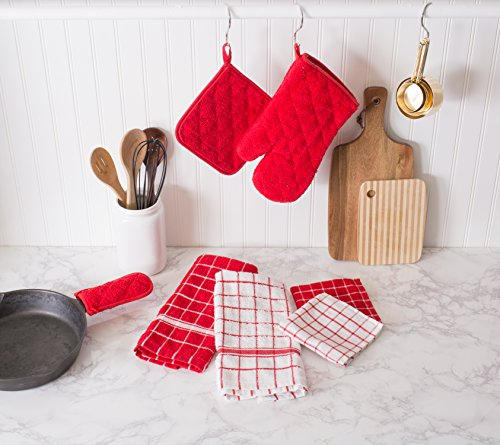"""Kitchen Designer Jobs In Oman: DII Cotton Terry Windowpane Dish Cloths, 12 X 12"""" Set Of 6, Machine Washable And Ultra Absorbent"""