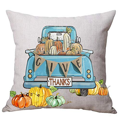 (Pattebom Watercolor Word Give Thanks Yellow Orange Blue Pumpkin Pickup Truck Car Autumn Pillow Covers 18 x 18 Decorative for Couch Home Decor)