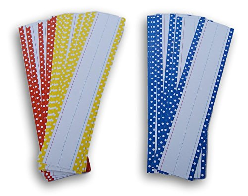 - Teaching Tree Writing Practice Word Strips - 30 Count (Dark Blue/Yellow/Red Polka Dot)
