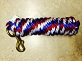 Red/White/Blue Poly Lead Rope 10' w/ Brass Bolt Snap Valhoma