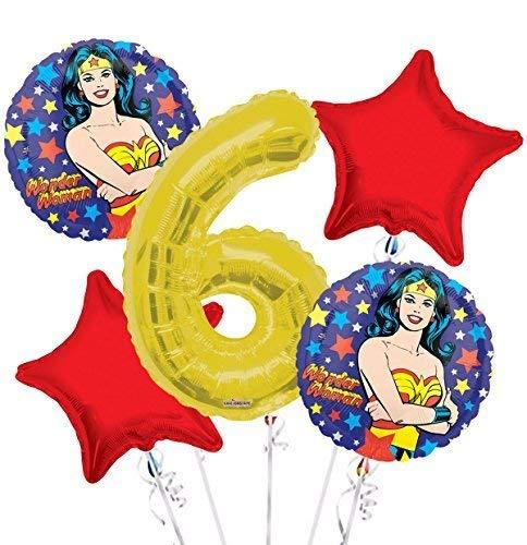 Wonder Women Balloon Bouquet 6th Birthday 5 pcs