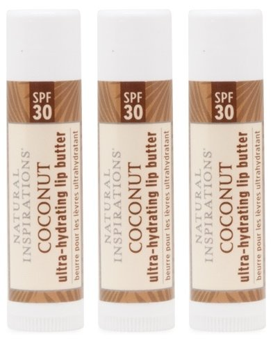 Natural Inspirations Ultra Hydrating SPF 30 Lip Butter 3 Piece Set, Coconut
