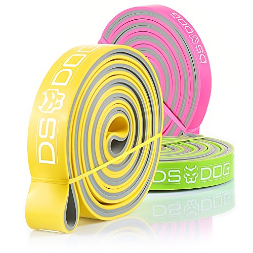 Set of 3 Dual Color Resistance Bands - with eGuide by DS DOG – Durable Workout Equipment – Compact, Effective and Versatile Latex Exercise Bands for Training at Home, Gym, Outside