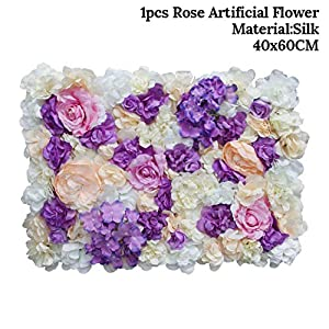 Awesome-experience 40X60Cm Silk Rose Flower Champagne Artificial Flower for Wedding Decoration Flower Wall Romantic Wedding Backdrop Decoration,4 27