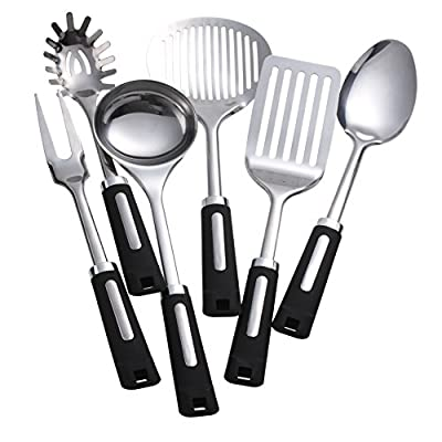 LANPA Stainless Steel Cooking Utensil Set Insulation Plastic Handle with Organizer Cooking Utensil Holder Stand, 6 Pieces