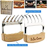MCBInfinity Meat Claws Stainless Steel Shredders – Pull, Handle, Carve BBQ Pulled Pork, Brisket, Turkey – BPA-Free Metal Forks and Wooden No-Slip Grips for Grill, Smoker, Crockpot, 2 Bear Claws