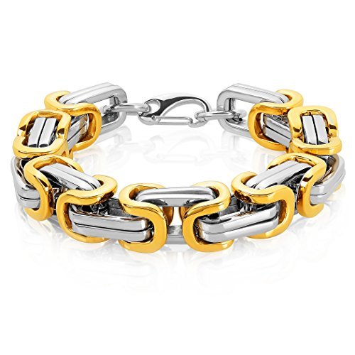 Crucible Gold Plated Two Tone Polished Stainless Steel Byzantine Chain Bracelet (17mm) - 11.5
