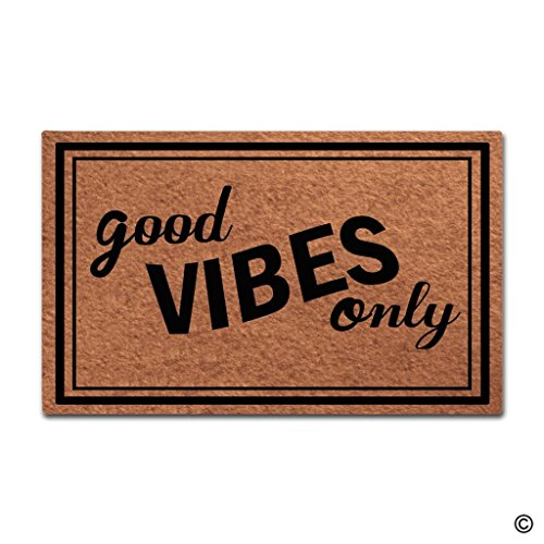 MsMr Doormat Entrance Floor Mat Good Vibes Only Funny Door Mat Indoor Outdoor Decorative Doormat Non-woven Fabric Top 23.6''x15.7'' by MsMr