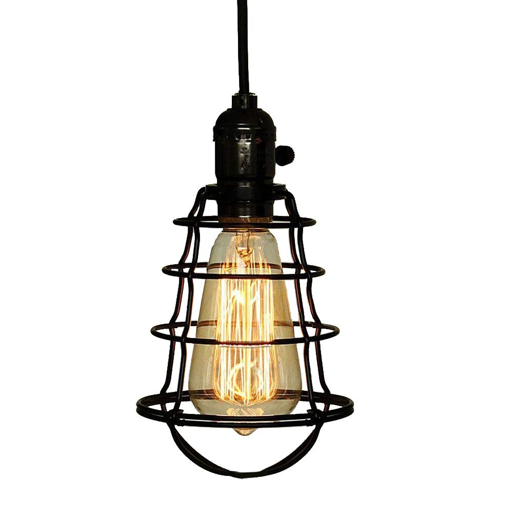 COOLWEST Mini Vintage Edison Hanging Caged Pendant Light Fixture Adjustable Black Cord For Home Kitchen Lighting