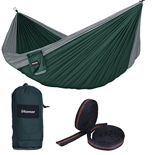 iHomor Double Camping Hammock Outdoor Parachute Camping Hammock Lightweight and Compact w 9ft Outfitters Atlas Strap