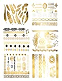Premium Metallic Tattoos - 75+ Gold, Silver, Black Shimmer Designs - Temporary Fake Jewelry Tattoos (Harmony Collection)
