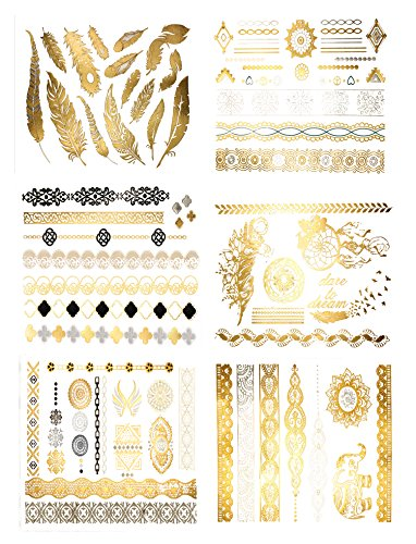Premium Metallic Tattoos - 75+ Henna & Boho Designs in Gold, Silver, Black - Temporary Fake Tattoos For Music Festivals Yoga Vacations Costumes Concerts Bachelorette Parties (Harmony (Tribal Print Tattoos)