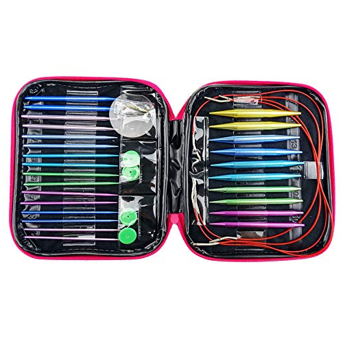Hanperal 13pcs Aluminum Circular Knitting Needles Set, Interchangeable Needles Set for Handmade Knitting Sweater, Scarf