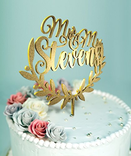 Mr & Mrs Olive Branch Wedding Cake Topper with Customizable Name and Color D-24