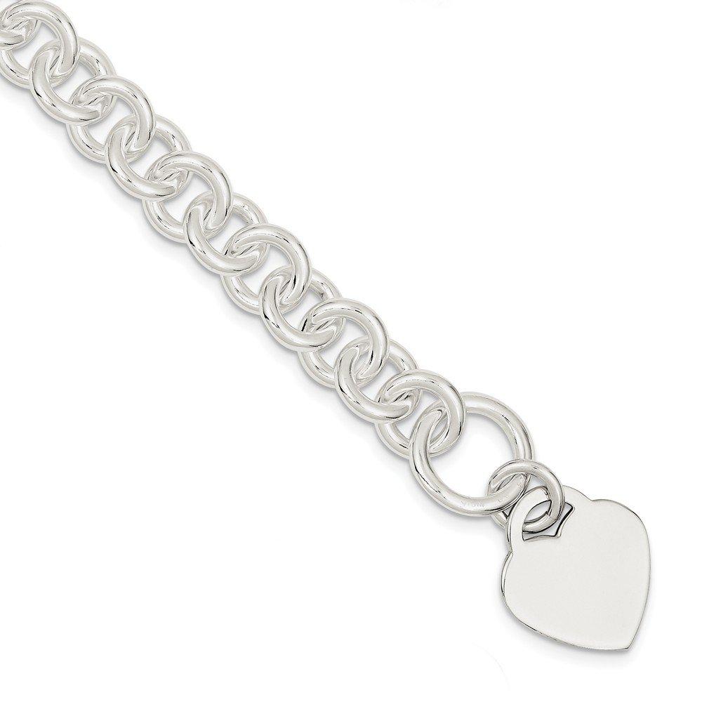 Diamond2Deal 925 Sterling Silver Engraveable Heart Disc on Fancy Link Toggle Bracelet 22.5inch