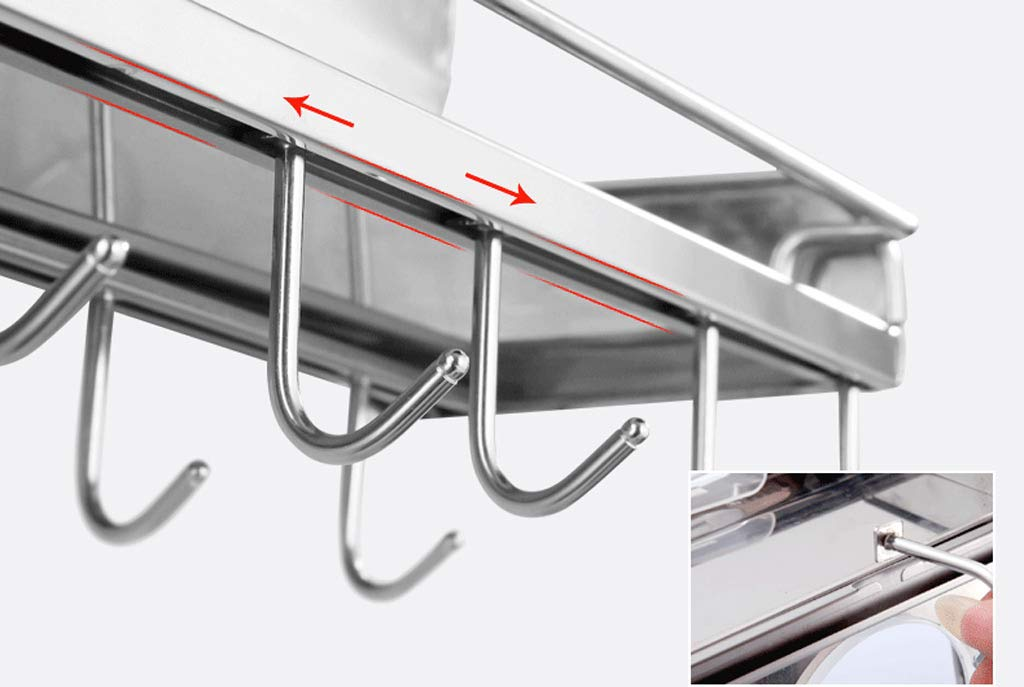 Kitchen Shelf, Multi-Function Stainless Steel Hardware Wall Hanging Kitchen Hook (40-80CM) (Color : No Hanging Basket, Size : 70CM) by CFXZM (Image #3)