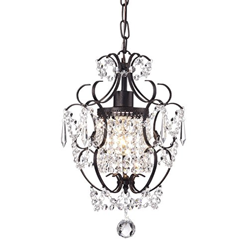 Amorette 1-Light Antique Bronze Finish Mini Chandelier Wrought Iron Ceiling Fixture