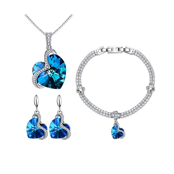 Menton Ezil Charming Nobile Swarovski Jewelry Sets with Sapphire Blue Necklace 18K...