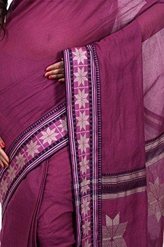 Bengal Handloom Saree Women's Pure Cotton Tangail Free Size Maroon by Bengal Handloom Saree (Image #3)