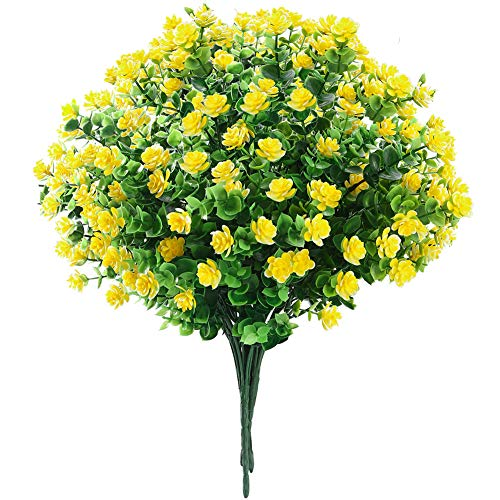 GREENRAIN Set of 6 Bundles Artificial Flowers, Fake Outdoor UV Resistant Plants Faux Plastic Greenery Shrubs Indoor Outside (Yellow)