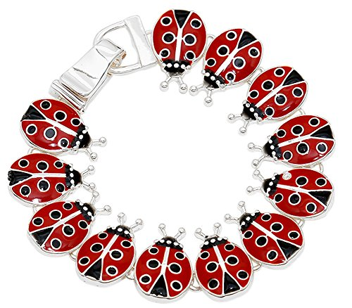 Silver Tone Magnetic Clasp Red and Black Enamel Ladybug Multi-Charm Bracelet for Women and Teens Multi Charm Bracelet Watch
