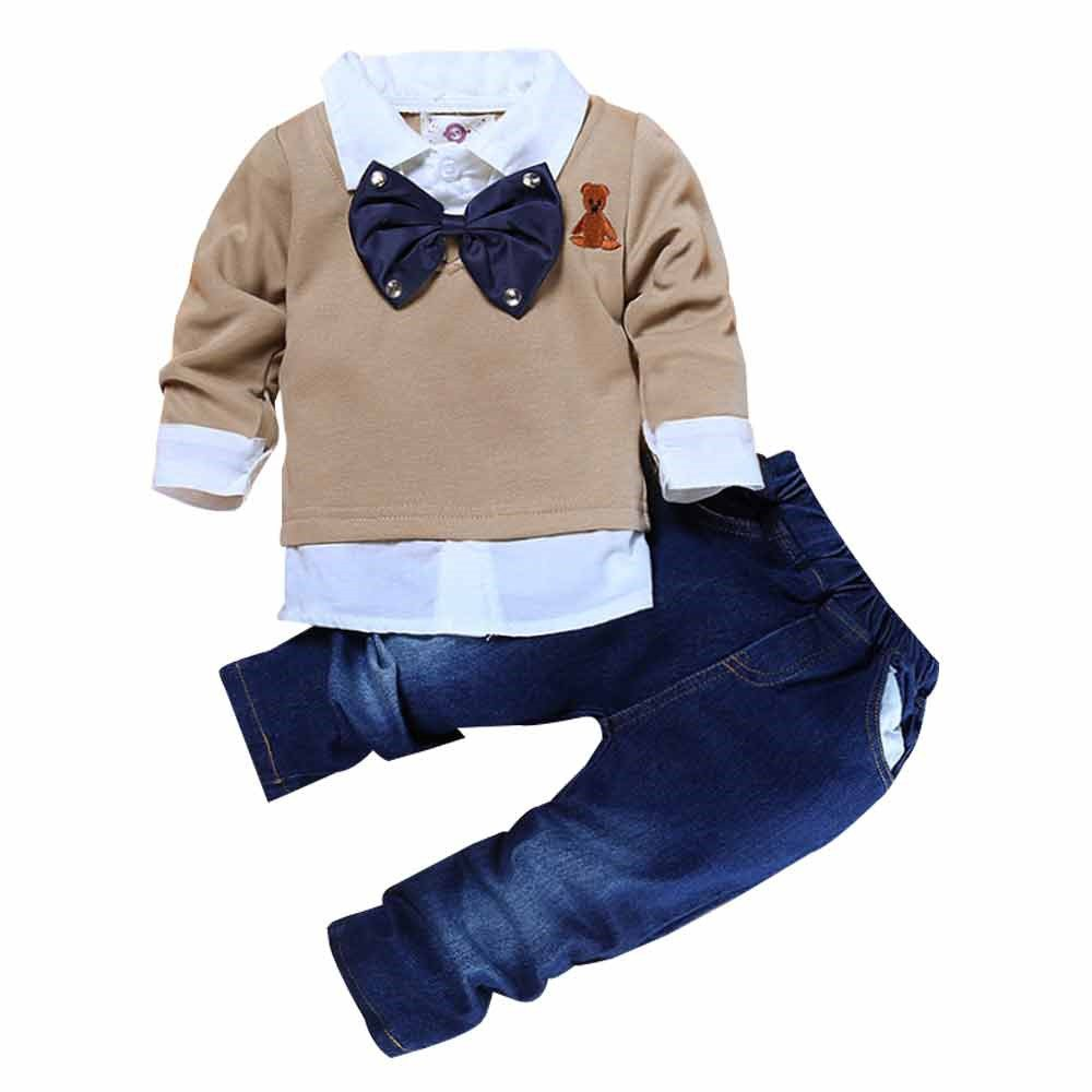 Kids Tales 2Pcs Boys Gentlemen Suit Bow Tie Shirt Tops Long Jeans Outfits Set