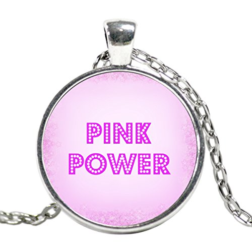 Super Nanny Costume (Hot Pink Power Silver Plated Charm Statement Necklace is a Great Gift for Her! Nice Handmade Pwr Pendant!)