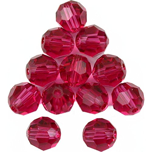 Approximately 6mm Round Beads (12 Fuchsia Round Swarovski Crystal Beads 5000 6mm New)