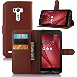 Excelsior Premium Leather Wallet Flip Cover Case For Asus ZenFone Selfie ZD551KL - Brown